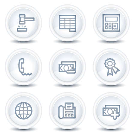 Finance web icons set 2, white glossy circle buttons Stock Vector - 8646547