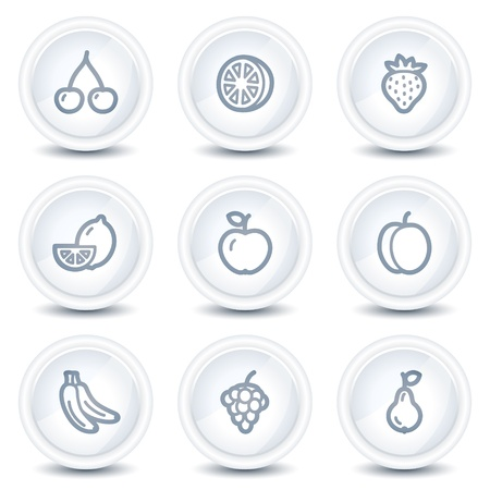 Fruits web icons , white glossy circle buttons Vector