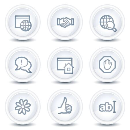 icq: Internet web icons set 1, white glossy circle buttons
