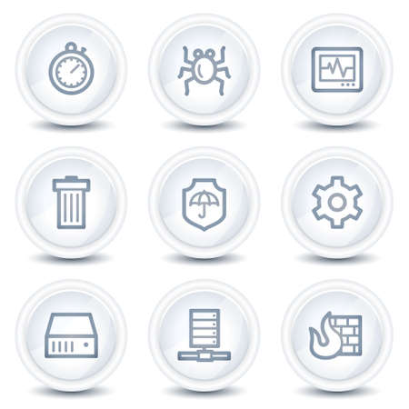 adware: Internet security web icons, white glossy circle buttons