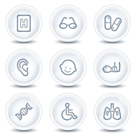 Medicine web icons set 2, white glossy circle buttons Vector