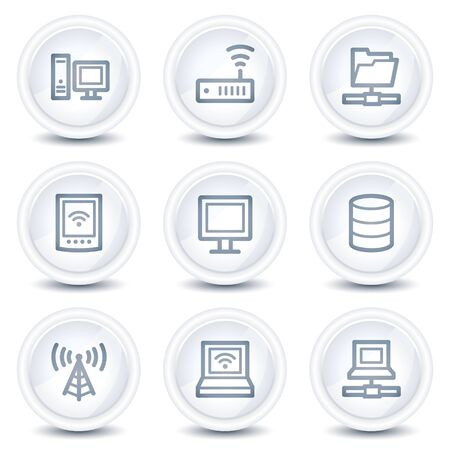 Network web icons, white glossy circle buttons Stock Vector - 8646526