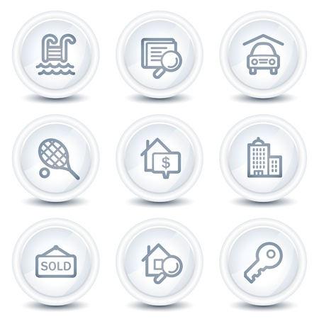 swimming pool home: Real estate web icons, white glossy circle buttons Illustration