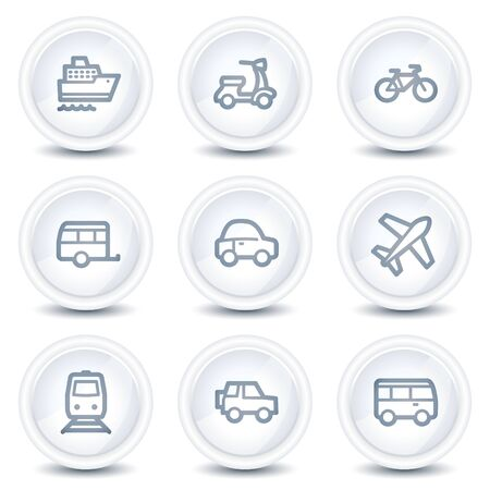 air liner: Transport web icons, white glossy circle buttons