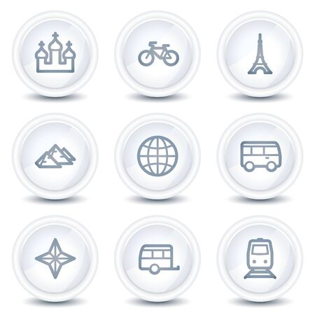 Travel web icons set 2, white glossy circle buttons Vector