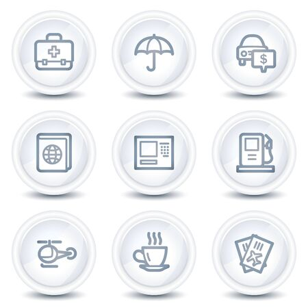 Travel web icons set 4, white glossy circle buttons Vector
