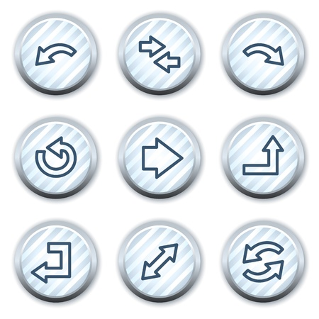 Arrows web icons set 1, stripped light blue circle buttons Vector