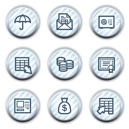 Banking  web icons, stripped light blue circle buttons Vector