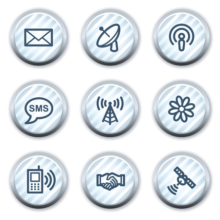 access point: Communication web icons, stripped light blue circle buttons Illustration