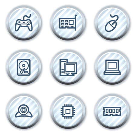 nettop: Computer web icons, stripped light blue circle buttons