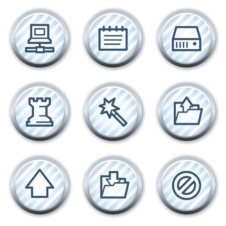 strippad: Data web icons, stripped light blue circle buttons