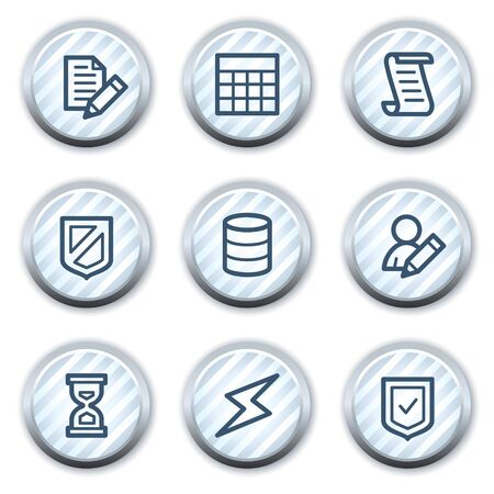 stripped: Database web icons, stripped light blue circle buttons