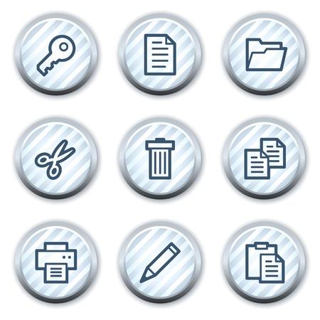strippad: Document web icons set 1, stripped light blue circle buttons Illustration