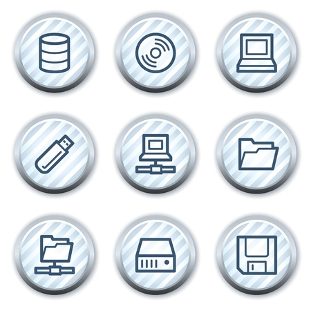 fdd: Drives and storage web icons, stripped light blue circle buttons