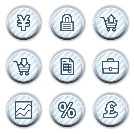 stripped: E-business web icons, stripped light blue circle buttons