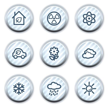 Ecology web icons set 2, stripped light blue circle buttons Vector