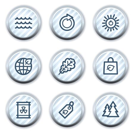 Ecology web icons set 3, stripped light blue circle buttons Vector