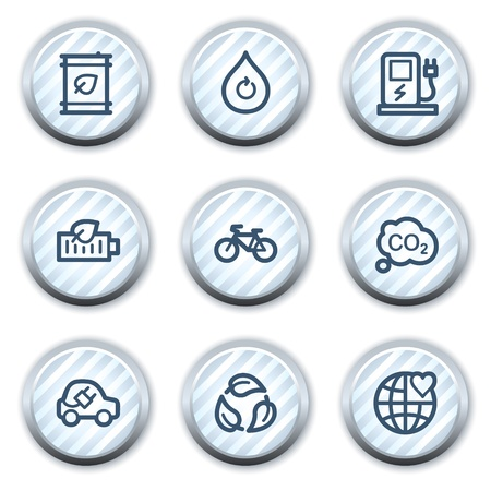electro world: Ecology web icons set 4, stripped light blue circle buttons Illustration