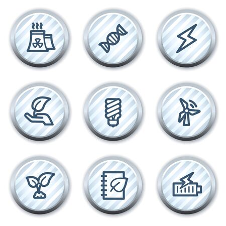 Ecology web icons set 5, stripped light blue circle buttons Vector