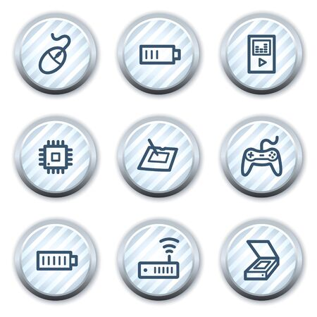 Electronics web icons set 2, stripped light blue circle buttons Stock Vector - 8768174