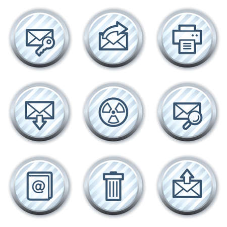 E-mail web icons set 2, stripped light blue circle buttons Vector
