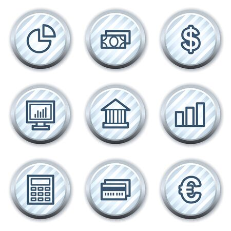 Finance web icons set 1, stripped light blue circle buttons Stock Vector - 8768172
