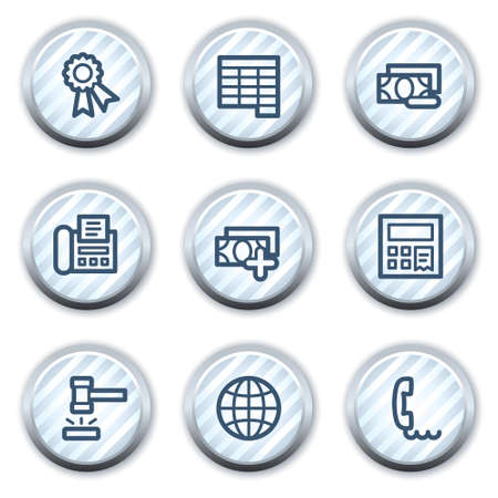 Finance web icons set 2, stripped light blue circle buttons Stock Vector - 8768186