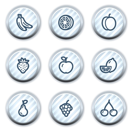 strippad: Fruits web icons , stripped light blue circle buttons