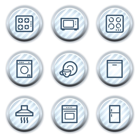 Home appliances web icons, stripped light blue circle buttons Vector