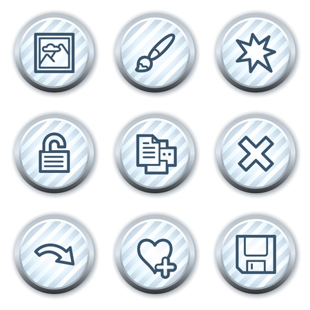 strippad: Image viewer web icons set 2, stripped light blue circle buttons Illustration