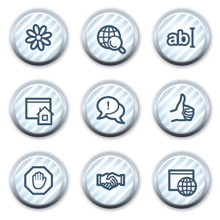 icq: Internet web icons set 1, stripped light blue circle buttons Illustration