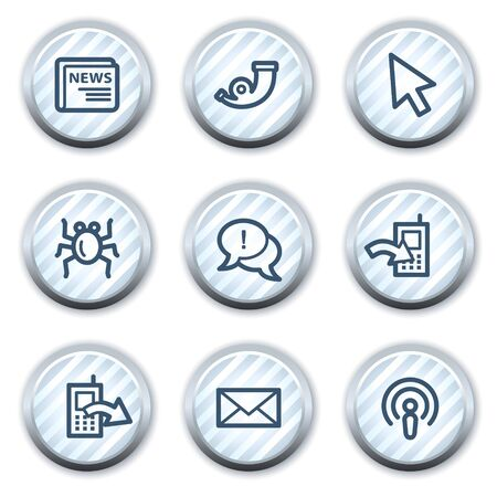 Internet web icons set 2, stripped light blue circle buttons Vector