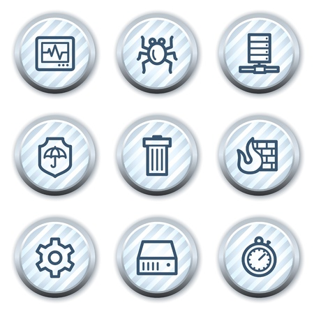 adware: Internet security web icons, stripped light blue circle buttons