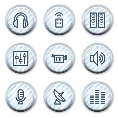 strippad: Media web icons, stripped light blue circle buttons