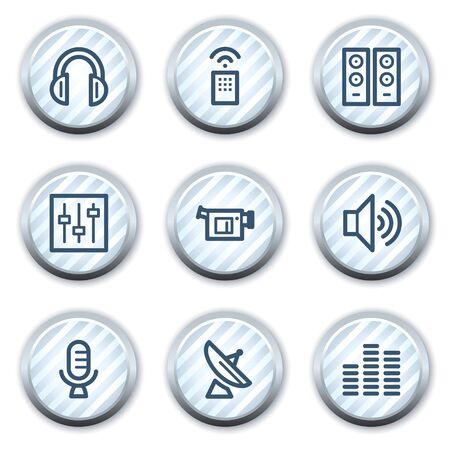 stripped: Media web icons, stripped light blue circle buttons