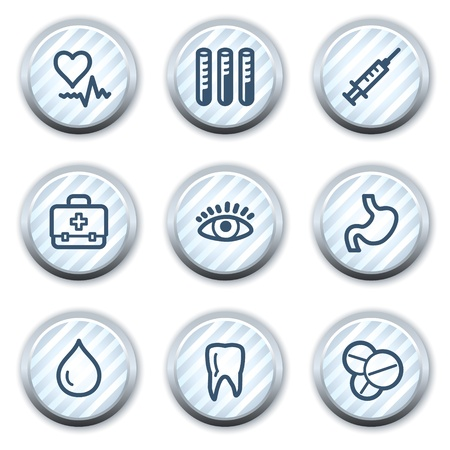 Medicine web icons set 1, stripped light blue circle buttons Vector