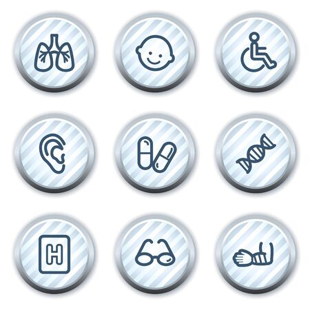 pulmones: Medicine web icons set 2, stripped light blue circle buttons