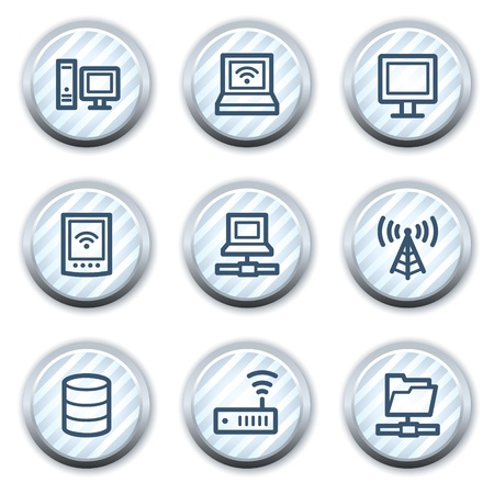 Network web icons, stripped light blue circle buttons Stock Vector - 8768142