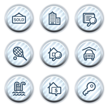 stripped: Real estate web icons, stripped light blue circle buttons