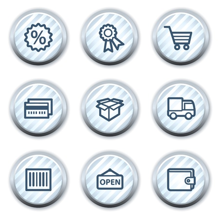 Shopping web icons set 2, stripped light blue circle buttons Stock Vector - 8768173