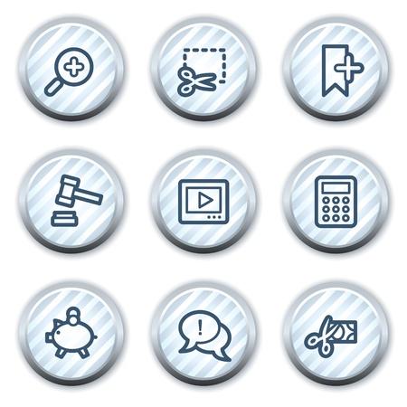 strippad: Shopping web icons set 3, stripped light blue circle buttons Illustration