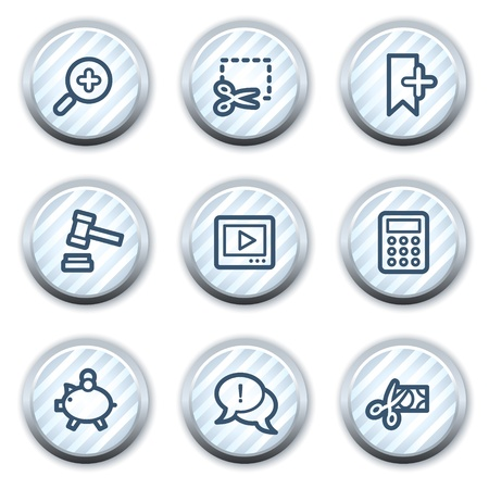 Shopping web icons set 3, stripped light blue circle buttons Vector