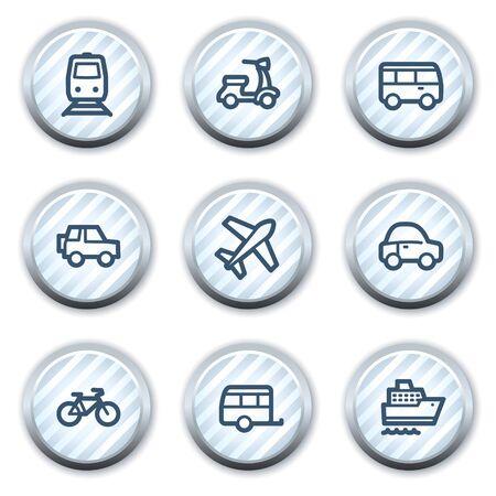 strippad: Transport web icons, stripped light blue circle buttons