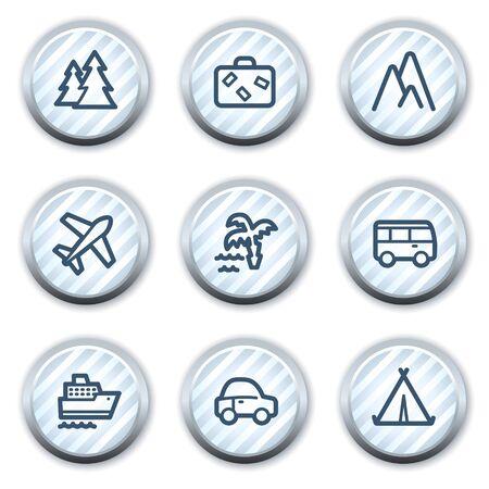 strippad: Travel web icons set 1, stripped light blue circle buttons Illustration