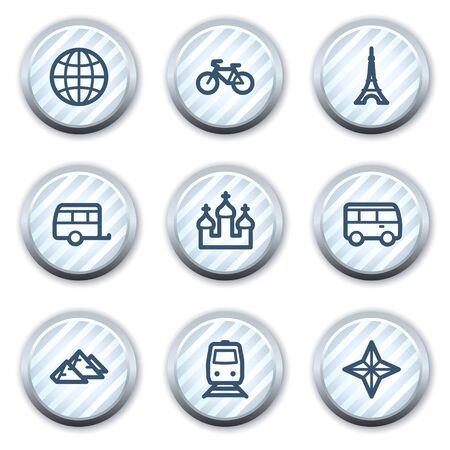 strippad: Travel web icons set 2, stripped light blue circle buttons