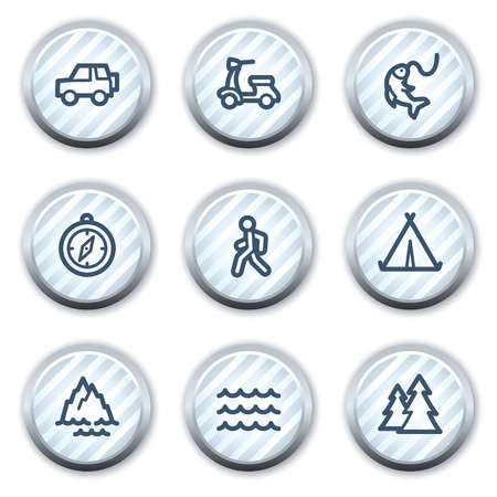 Travel web icons set 3, stripped light blue circle buttons Vector