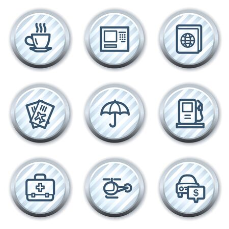 Travel web icons set 4, stripped light blue circle buttons Vector
