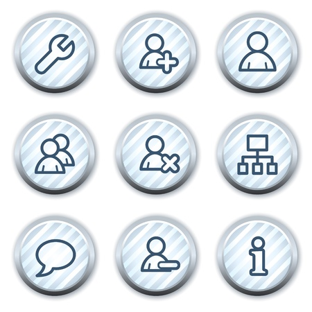Users web icons, stripped light blue circle buttons Vector