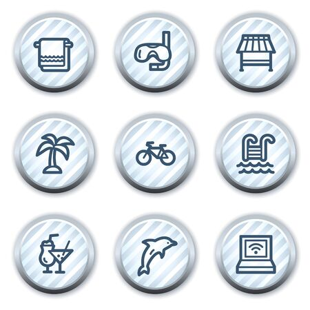 Vacation web icons, stripped light blue circle buttons Vector
