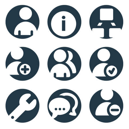 Users web icons, crop series Vector